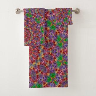 カラフルな万華鏡のように千変万化するパターンのデザインの浴室タオルセット バスタオルセット