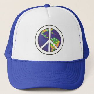 カラフルな世界のピースサインの帽子 キャップ