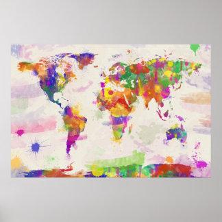 カラフルな世界地図 ポスター