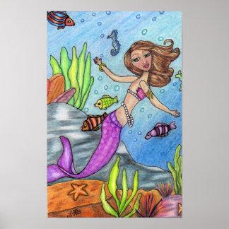 カラフルな人魚および魚ポスター ポスター