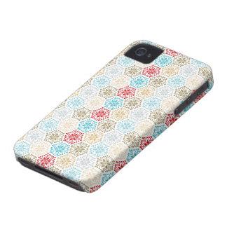 カラフルな休日の雪片のブラックベリーのはっきりしたな箱 Case-Mate iPhone 4 ケース
