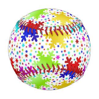 カラフルな光沢がある雪片パターン 野球ボール