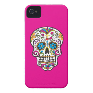 カラフルな入れ墨のスカル、ピンクの背景のiPhone 4/4s Case-Mate iPhone 4 ケース