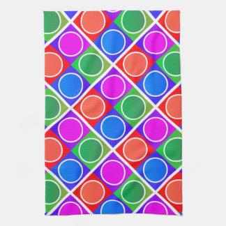 カラフルな円および正方形パターン キッチンタオル