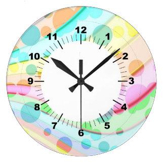 カラフルな円の抽象芸術 ラージ壁時計