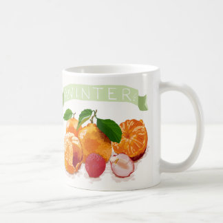 カラフルな冬のフルーツ コーヒーマグカップ
