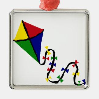 カラフルな凧の飛んでいるな芸術 メタルオーナメント