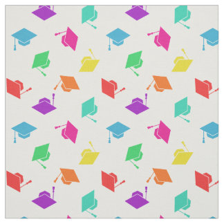 カラフルな卒業の帽子パターン ファブリック