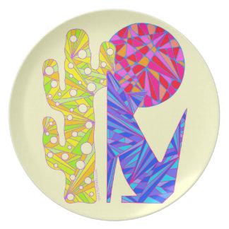 カラフルな南西コヨーテのオオカミの芸術のディナー用大皿 プレート