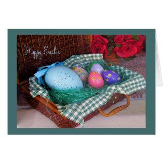 カラフルな卵が付いている古いファッションのイースターバスケットカード カード