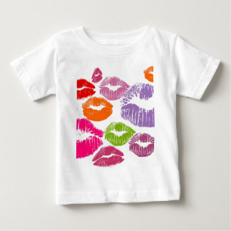カラフルな口紅は唇色に接吻します ベビーTシャツ