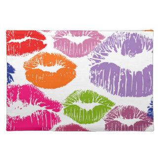 カラフルな口紅は唇色に接吻します ランチョンマット