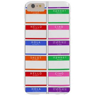 カラフルな名札はこんにちは私の名前Hola Ciao Salutです Barely There iPhone 6 Plus ケース