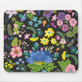 カラフルな夏の花模様 マウスパッド
