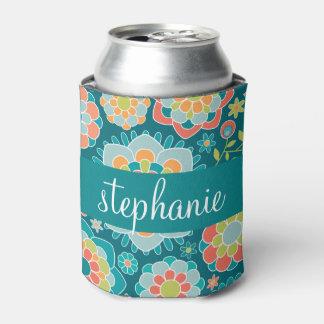 カラフルな夏花パターン名前をカスタムする 缶クーラー