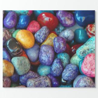 カラフルな大理石の小石 ラッピングペーパー