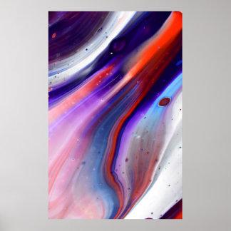 カラフルな大理石は赤く青い紫色流動ペンキの渦巻きます ポスター