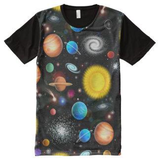 カラフルな天文学の宇宙のワイシャツ オールオーバープリントT シャツ