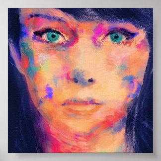カラフルな女の子のファインアートのプリント ポスター