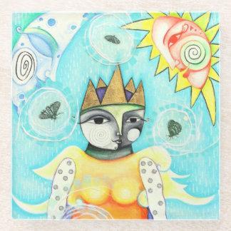 カラフルな女王ガラスのコースター ガラスコースター
