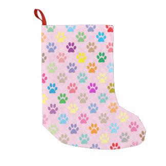 カラフルな子犬の足のプリント スモールクリスマスストッキング