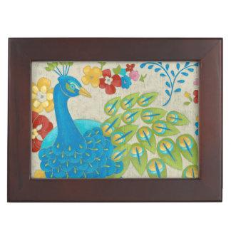 カラフルな孔雀および花 ジュエリーボックス