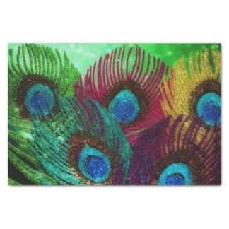 カラフルな孔雀の羽 薄葉紙