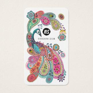 カラフルな孔雀の花のペイズリー|の名刺 名刺