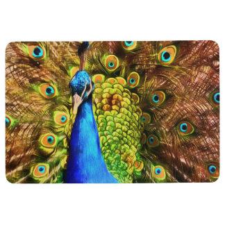 カラフルな孔雀 フロアマット