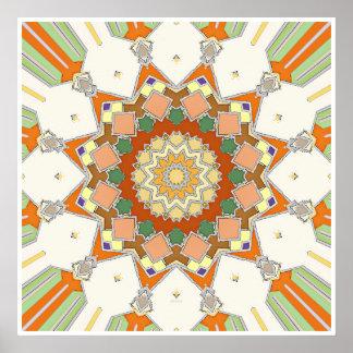 カラフルな対称の星 ポスター