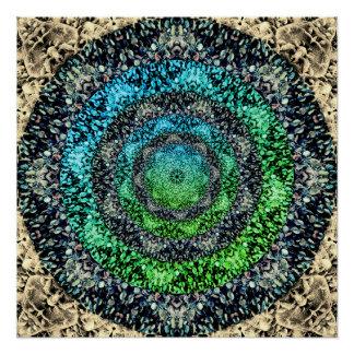 カラフルな小石のフラクタルの曼荼羅 ポスター