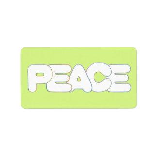 カラフルな平和単語の輪郭のラベル ラベル