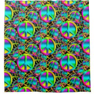 カラフルな平和継ぎ目が無いパターン + あなたのアイディア シャワーカーテン