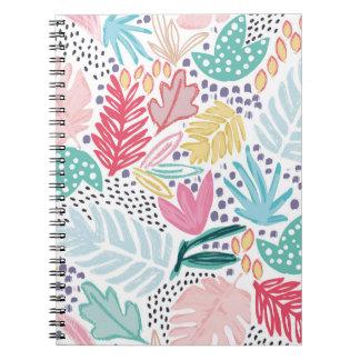 カラフルな形熱帯パターン螺線形ノート ノートブック