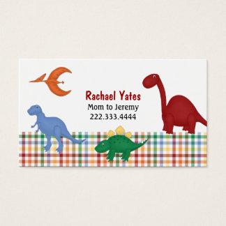 カラフルな恐竜のお母さんカード 名刺