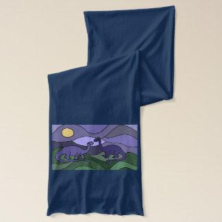 カラフルな恐竜の芸術のデザイン スカーフ