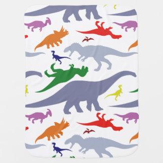 カラフルな恐竜パターン(ライト) ベビー ブランケット