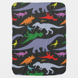 カラフルな恐竜パターン(暗い) ベビー ブランケット