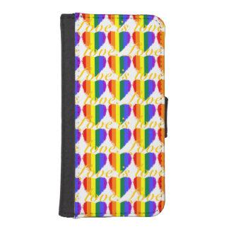 カラフルな愛は愛虹のハートパターンです iPhoneSE/5/5sウォレットケース