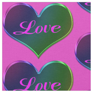 カラフルな愛ハートのバレンタイン ファブリック