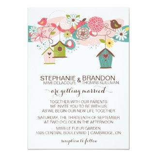 カラフルな愛鳥及び招待を結婚する鳥の家 カード