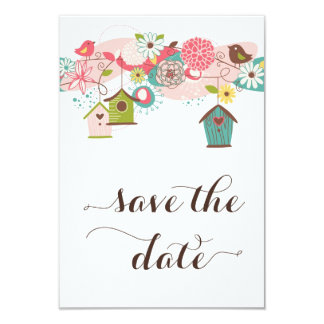 カラフルな愛鳥及び鳥の家は日付を救います カード