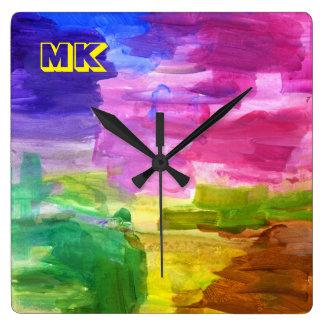 カラフルな手塗りに芸術のアクリルの抽象芸術の絵を描くこと スクエア壁時計