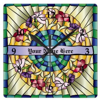 カラフルな手描きの宝石のステンドグラスの花 スクエア壁時計