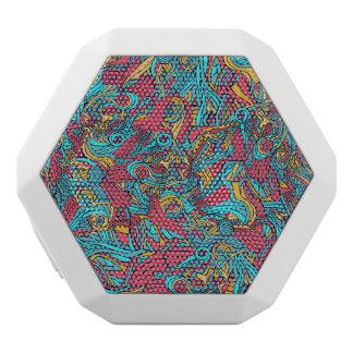 カラフルな手描きの抽象的なパターンデザイン ホワイトBluetoothスピーカー