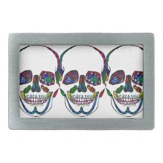 カラフルな手描きの砂糖のスカルのモザイク 長方形ベルトバックル