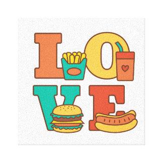 カラフルな手紙愛ジャンクフードのハンバーガーのホットドッグ キャンバスプリント