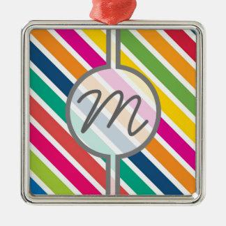 カラフルな斜めキャンデーは-カスタムな文字を縞で飾ります メタルオーナメント