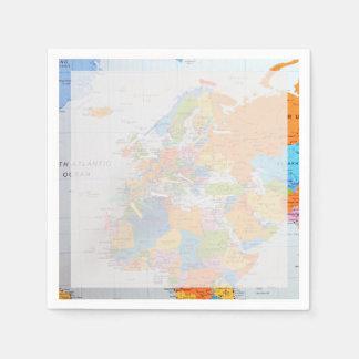カラフルな旅行地図 スタンダードカクテルナプキン