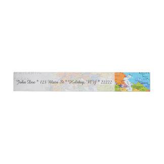 カラフルな旅行地図 ラップアラウンド宛名ラベル